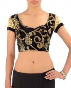 Black Velvet Blouse with Sequins Embellished #Exclusivelyin #IndianEthnicWear #IndianWear #Fashion #CelebratingIndia #Wedding #Traditional #Indochic #Designer #Boutique #Beautiful