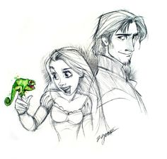 Rapunzel, Flynn and Pascal. I love that Pascal is the only thing in color.