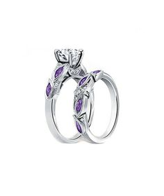 Love this Purple Cubic Zirconia & Silvertone Ring & Band Set on #zulily! #zulilyfinds