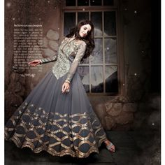 Anarkali style Semi-Stitched Salwar suit of kurta Grey color and salwar of Grey color
