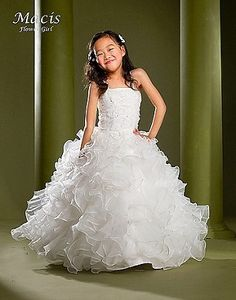 Macis Designs White Formal Beaded Gown.