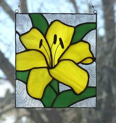 Stained Glass Yellow Lily by LadybugStainedGlass on Etsy, $30.00