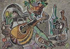 Artwork by Gino Severini, Nature morte à la mandole, Made of mosaic