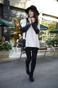 Streets Of Barcelona  #Black Hat #White Knit Sweater #3 side buckes ankle Boots #Suede #Back and White Outfit #Krack #Proenza Shouler Shoulder