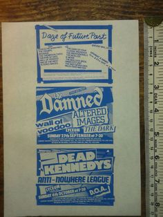 ORIGINAL   FLYER 1981- DAZE OF FUTURE PAST / THE DAMNED / DEAD KENNEDYS - RARE