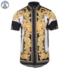 Men's Shirts Palace Golden Flowers Shirts Men 3d Shirts Short Sleeve Summer Brand Shirts Fashion Tops