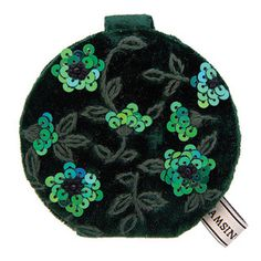 This compact mirror has a plush velvet outer and features the amazing Clematis design. Compact Mirror, Green Silk, Clematis, Emerald Green, Mirrors, Plush, Velvet, Amazing, Design