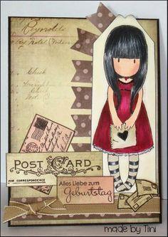 Hand stamped Gorjuss card