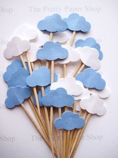 24 Baby Boy Blue & White Cloud Party Picks These picks are double sided and look great from the back or front and are the perfect accent for any celebration! x All picks are handmade by me and can differ slightly. Baby Shower Decorations For Boys, Boy Baby Shower Themes, Baby Shower Gender Reveal, Baby Boy Shower, Deco Baby Shower, Baby Shower Bunting, Baby Shower Cupcakes, Cloud Party, Hot Air Balloon Party