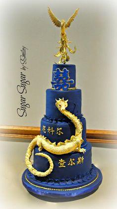 Dragon & Phoenix Wedding Cake by Sandra Smiley - http://cakesdecor.com/cakes/237438-dragon-phoenix-wedding-cake