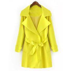 Neon Yellow Lapel Tie-Waist Trench Coat