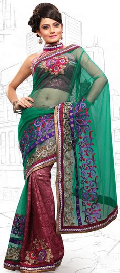 $61.74 Red and Green Brasso and Net Latest Fashion Saree 16698 With Unstitched Blouse