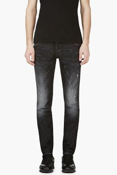 Dsquared2 Black Distressed Slim Jeans for men | SSENSE