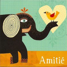 :)magali attiogbe - Elephant with bird on trunk