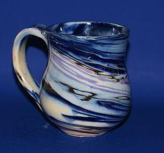 Marbled Porcelain Mug Deep cobalt blue lavender by DrBevsPottery