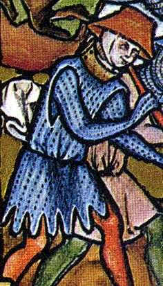 """Joshua battles Amalek (detail). An Aketon, (a version of an Arming Doublet) a padded """"soft armour"""" with dags, showing good example of the tear-drop style of arm-slit."""