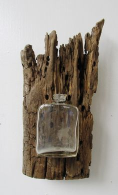 Driftwood Reclaimed Wood Vase with Vintage Medicine Bottle
