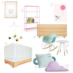 Pink, purple and aqua - pastel modern nursery