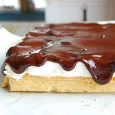 A buttery shortbread crust topped with homemade marshmallow, then spread with dark chocolate ganache.