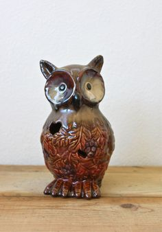 Vintage Ceramic Owl with Autumn Leaves and Grapes. $24.00, via Etsy.