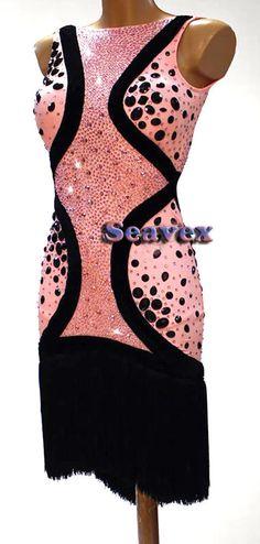 Women L3233 Competition Latin Cha Cha samba Ramba dance dress US 10 pink #seahunter