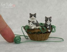 I wanted to share another pic of the miniature Kitten sculptures shown together in a little basket of waxed linen. Miniature Basket of Kitten sculptures Dollhouse Dolls, Miniature Dolls, Dollhouse Miniatures, Needle Felted Animals, Felt Animals, Miniature Goldendoodle Puppies, Lab Puppies, Mini Things, Animal Sculptures