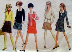 60s Vintage ALine Skirt Jacket Blouse Sewing by stumbleupon, $7.95