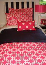 pink and navy dorm room bedding