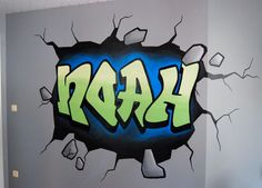Graffiti schildering die als het ware door de muur heen breekt on Lizart  https://lizart.be/wp-content/uploads/graffiti-muurschilderingen/graffiti-optische-illusie.jpg