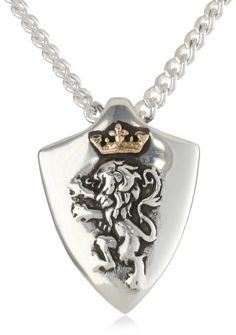 "Bob Siemon Sterling Silver Narnia \Two-Tone"" Reversible Shield Pendant Necklace"