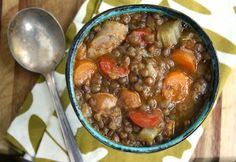 lentil sausage vegetable soup from Ina Garten Omit the sausage for a vegetarian version. Lentil Sausage Soup, Beautiful Soup, Green Kitchen, Soups And Stews, Lentils, Vegetarian, Meals, Dishes, Chowders