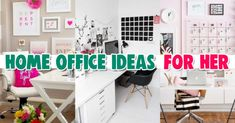 Home Office Ideas for Women on a Budget Who Want an Organized Feminine Workspace At Home Home Office Layouts, Home Office Space, Office Workspace, Office Ideas, Pink Home Offices, Feminine Home Offices, Desk Organization Tips, Bedroom Organization, Organizing Ideas