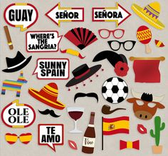 Spanish Party props, diy photo booth printables for Spain themed party/event  Just purchase the digital file to print and cut out at home.  ---------------------------------------------------------------------------------------------------  - - - LISTING INCLUDES - - - 1. 35 Props 3. 1 x Printable photo booth sign  2 PDF documents for easy printing.  This listing is for a digital file(s) of design shown only. All Digital Files will be sent as PDF(s) --------------------------------------...