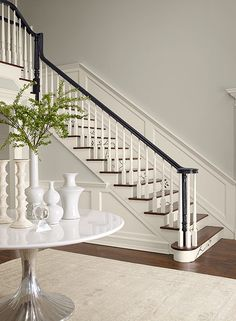 Yup, I can do this! Perfect gray and painted handrail for the foyer! Stonington Gray HC-170