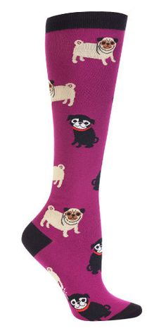 It's a pug's life. And it's a good one.  Sweet pugs in tan and black smile on this purple knee high sock.  Fits women's shoe size 5-10.