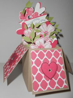 Happy B-Day Dear You - Card in a Box (old size) -  Linda Creech,  This was my first and the original Card in a Box (created by Tanya Bell), notice how much longer the flaps are than the new size box I created.