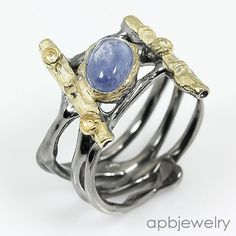 Handmade Ring Natural Tanzanite 925 Sterling Silver Ring Size 7.5/R31388 #APBJewelry #Ring