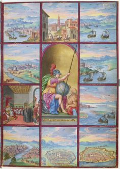 1578.Voyages et aventures de Ch. Magius,BNF,département Estampes et photographie,RESERVE 4-AD- 134,miniature no.9; Personnification de la Rome antique,entourée de dix tableaux:(1)port et ville de Pesaro,(2)Rome du côté du château Saint-Ange,(3) conclave et audience de Magius,(4)Florence,(5)Bologne,(6)Ferrare, (7)Venise du côté de Malamocco, entre les îles Saint-Georges et Saint-François,(8)Cap d'Istrie,(9) ville et plage de Puola,(10)ville de Sacilé ou Sacis.
