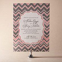 Wedding Invites. Casual. Chevron. Pink and grey.