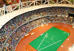 LEGO London Olympic Stadium. Made from 100 000 bricks with hundreds of Olympic minifigures some created especially for the 2012 games.