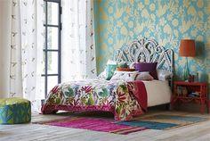 Bold Floral Home Decor Inspiration - Living After Midnite Harlequin Wallpaper, Guest Bedroom Office, Master Bedroom, Interior Decorating, Interior Design, Interior Ideas, Make Your Bed, Childrens Room Decor, Kids Room Design
