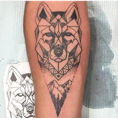 #geometric wolf by Ana @ananjtattoos #ink #geometrictattoo #wolftattoo #tattoo #tattoos #linework