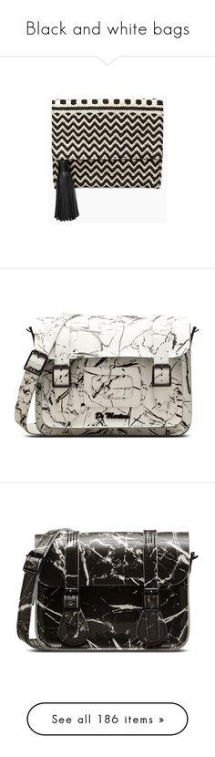 """Black and white bags"" by kikikoji ❤ liked on Polyvore featuring bags, handbags, clutches, black, print purse, rebecca minkoff handbags, tassel clutches, rebecca minkoff purse, pattern purse and white"
