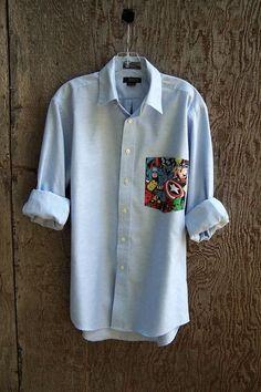 MARVEL Avenger shirt upcycled comic pocket light blue oxford button down boyfriend long sleeve poly cotton mens unisex you pick size