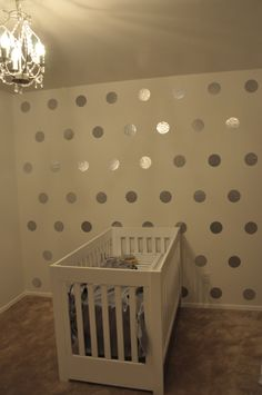 silver contact paper polka dot walls - DIY tutorial