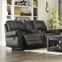 signature design by ashley milhaven double recliner loveseat with console