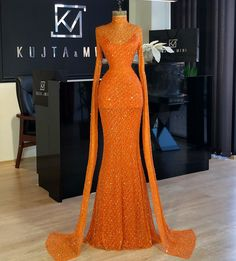 modest prom Sparkly Shining Long Sleeves Orange New Fashion Unique Modest Prom Dresses The dress can be custom made in size and color for free, lace up back or zipper back are all a Prom Girl Dresses, Prom Outfits, Gala Dresses, Event Dresses, Couture Dresses, Fashion Dresses, Banquet Dresses, Wedding Dresses, Sexy Dresses