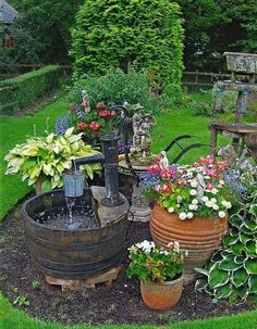12 Lovely  Container Gardening Designs for you to try for your outdoor spaces   Upcycled Garden Fountain   #container_gardening #garden_containers #gardening