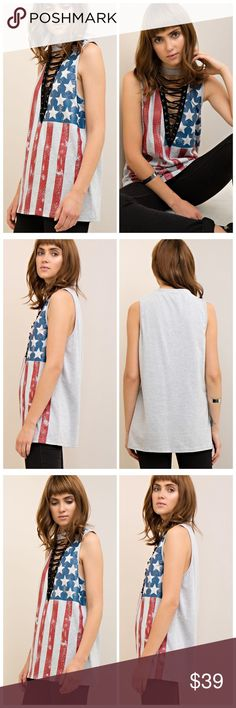 🆕🚨COMING SOON patriotic grunge choker tank Coming soon!! This patriotic, grunge inspired sleeveless tank features a drawstring and choker neckline and the 🇺🇸! The color comes in heather grey and fits true to size. To be notified when this arrives please tag yourself below 👇🏻👇🏻👇🏻👇🏻 Tops Tank Tops