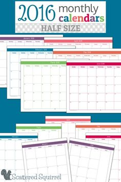 They're here! The Half-Size 2016 monthly calendars are ready for you to start downloading. These Full-Size monthly planner printables are perfect for teachers, students, homeschooler, or anyone looking to get a jump start on next year's planner.
